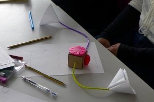Workshop cardboard prototype for a small interactive installation. Pic: Areti Galani